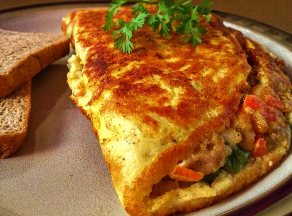 omelette de pollo y verduras