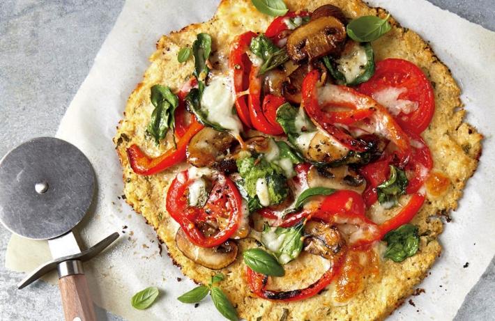 pizza de coliflor vegana