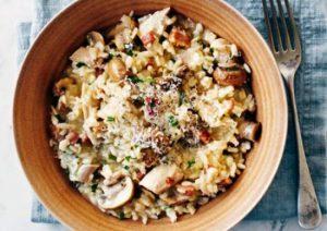 risotto de pollo y setas