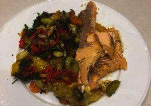 trucha al horno con verduras